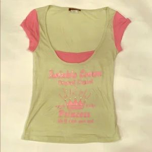 Pink and mint baby Tee S fits XS